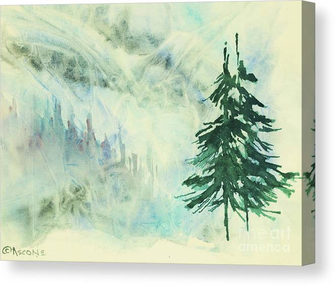 Evergreen Canvas Print featuring the painting Evergreen by Teresa Ascone