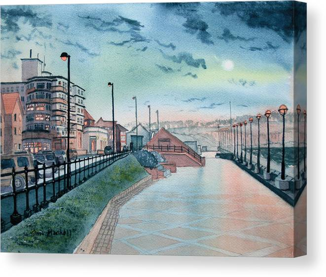 Glenn Marshall Artist Canvas Print featuring the painting Expanse Hotel And South Promenade In Bridlington by Glenn Marshall