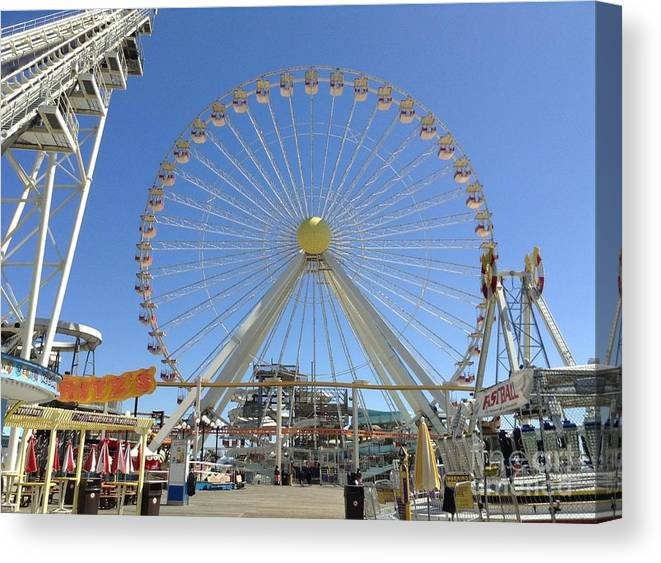 Ferris Wheel Canvas Print featuring the photograph Ferris Wheel In Wildwood New Jersey by Becky Lupe