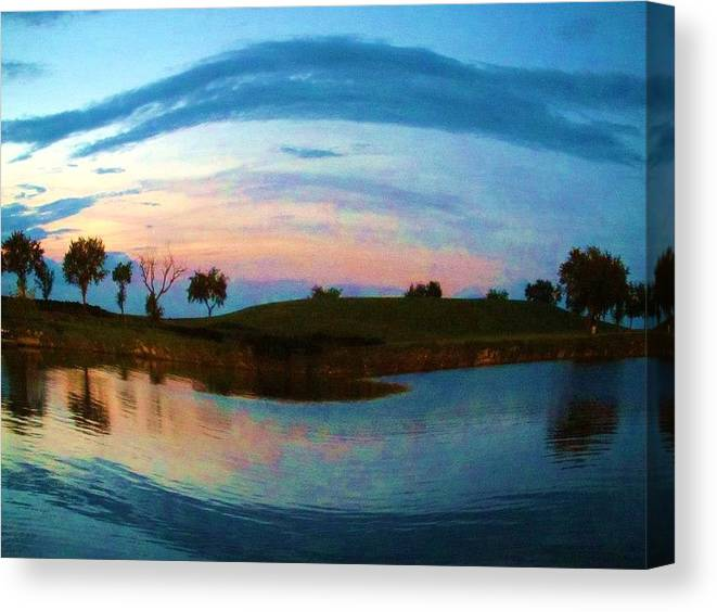 Boat Launch Canvas Print featuring the photograph Fisheye Sunset by Deborah Lacoste
