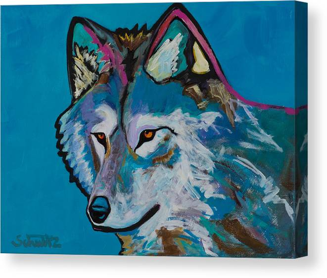 Grey Wolf Canvas Print featuring the painting Grey Wolf by John Schultz
