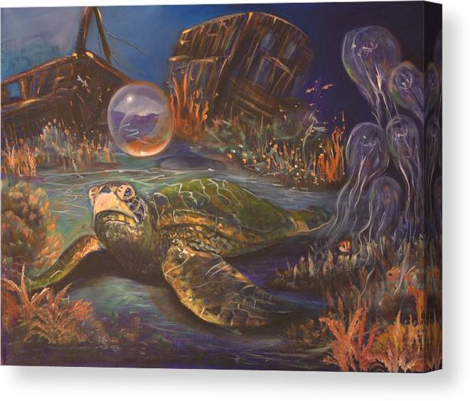 Underwater Canvas Print featuring the painting It's Getting Crowded by Sue Stake