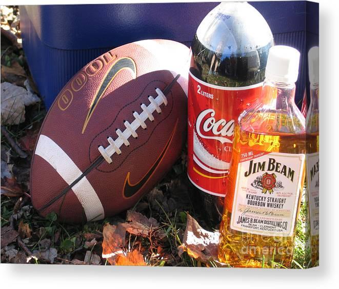 Football Canvas Print featuring the photograph Jim Beam Coke And Football by Jason O Watson