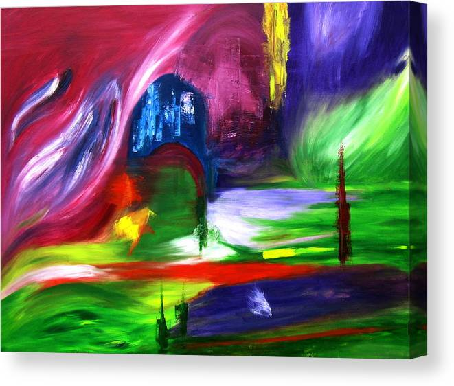 Northern Lights Abstract Canvas Print featuring the painting Lost In Northern Lights by ColorAndCommotion By Kritka