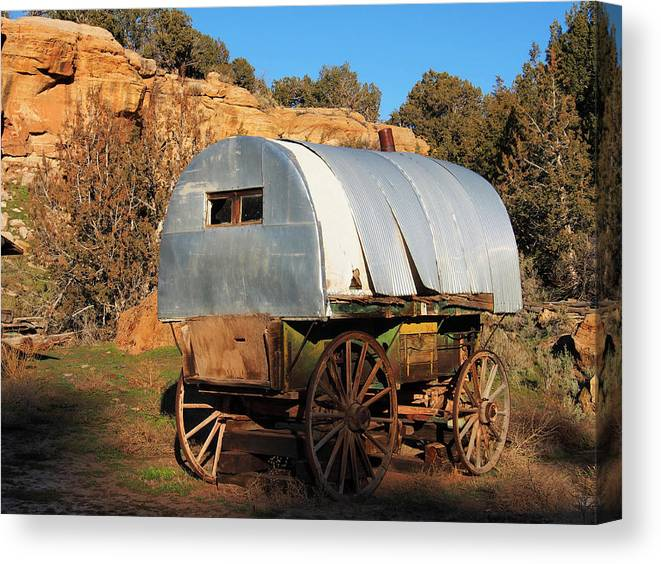 Old Wagon Canvas Print featuring the photograph Old Sheepherder's Wagon by Nadja Rider