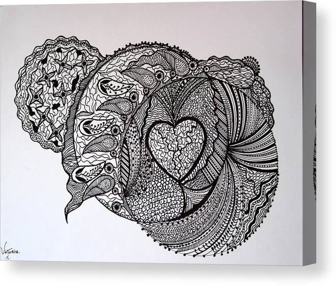Canvas Print featuring the drawing Peacefull Earth by Victoria Koijmans