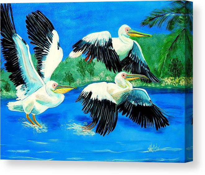 Pelican Canvas Print featuring the painting Pelican Trio by Kathern Welsh