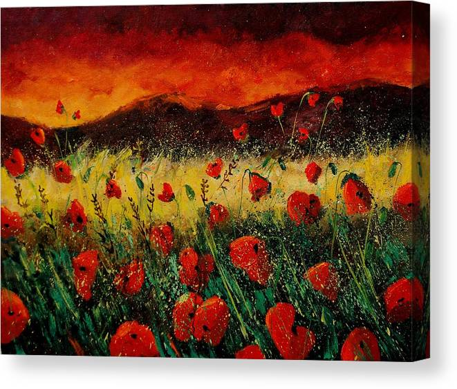 Poppies Canvas Print featuring the painting Poppies 68 by Pol Ledent