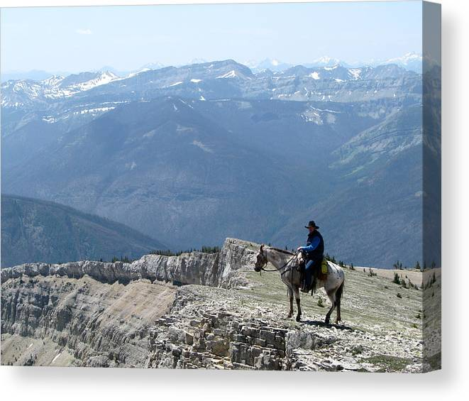 Prairie Reef Fire Lookout Canvas Print featuring the photograph Prairie Reef View With Horse And Rider by Pam Little