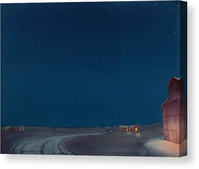 Grain Elevator Art Canvas Print featuring the painting Pre-dawn On The Hi Line II by Scott Kirby