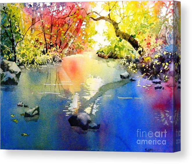 Landscape Canvas Print featuring the painting Sound Of Calmness by Celine K Yong