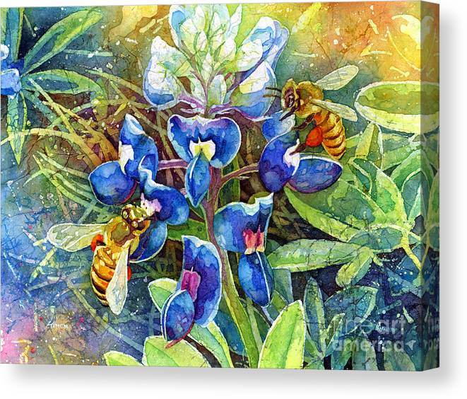Bluebonnet Canvas Print featuring the painting Spring Breeze by Hailey E Herrera