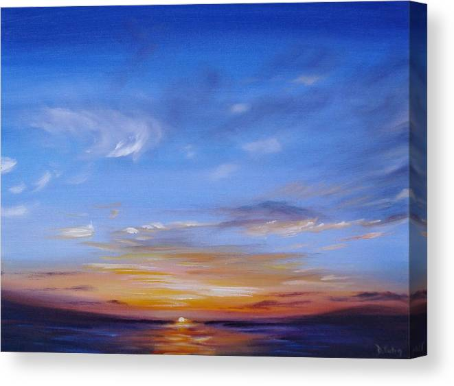 Tropical Sunset Canvas Print featuring the painting Sunset In Paradise by Donna Tuten