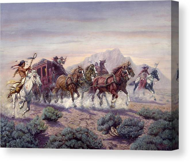 Gregory Perillo Canvas Print featuring the painting The Attack by Gregory Perillo
