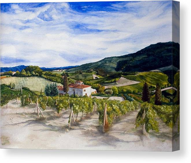 Landscape Canvas Print featuring the painting The Hills Of Tuscany by Monika Degan