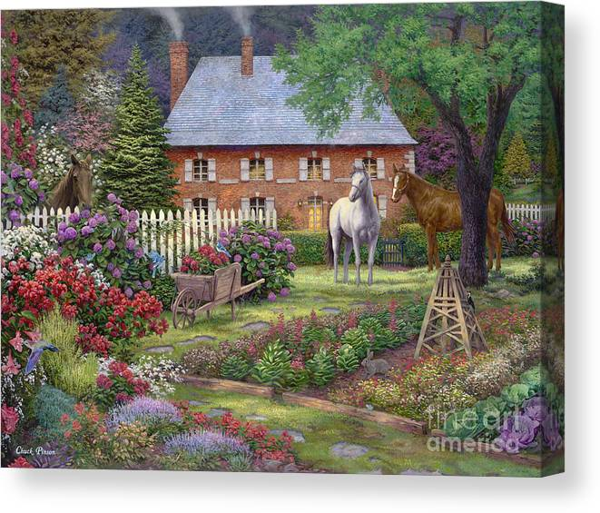 Mother's Day Gift Idea Canvas Print featuring the painting The Sweet Garden by Chuck Pinson