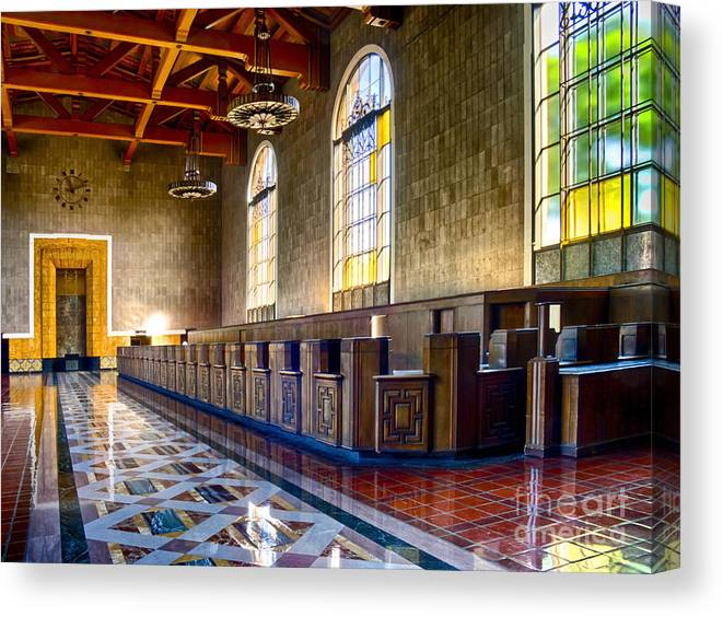 Hdr Canvas Print featuring the photograph Union Station Interior- Los Angeles 2 by David Doucot