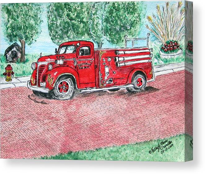 Firetruck Canvas Print featuring the painting Vintage Firetruck by Kathy Marrs Chandler