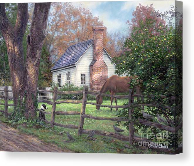 Folk Art Canvas Print featuring the painting Where Time Moves Slower by Chuck Pinson