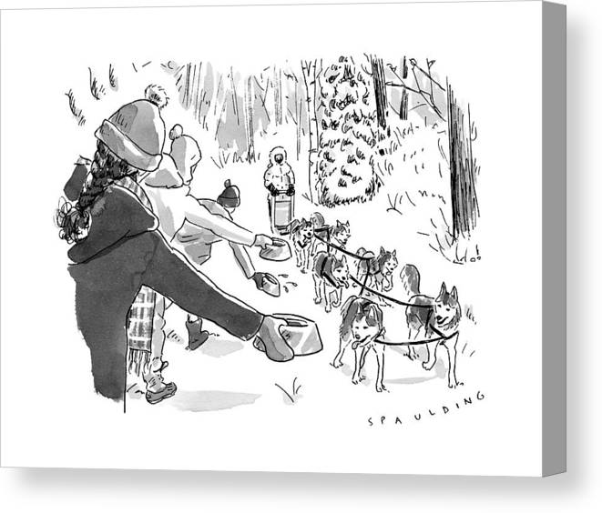 Captionless Marathon Canvas Print featuring the drawing Winter Suited Volunteers Hold Out Dog Dishes by Trevor Spaulding