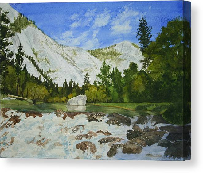 Landscape Canvas Print featuring the painting Yosemite Park by Monika Degan