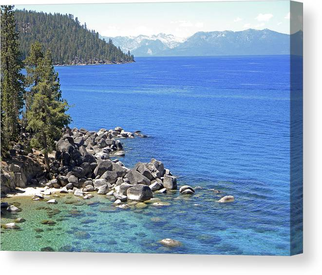Lake Tahoe Canvas Print featuring the photograph Pines Boulders And Crystal Waters Of Lake Tahoe by Frank Wilson