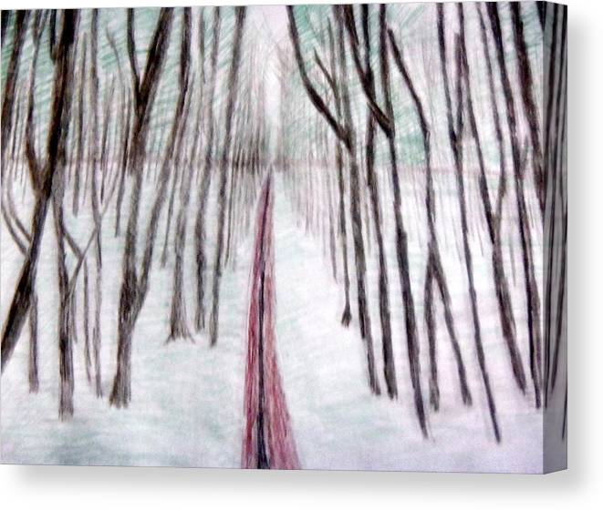 Trees Canvas Print featuring the drawing Tall And Strong by Kristin Davis