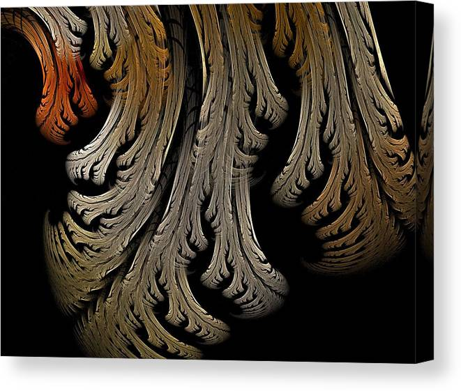 Fractal Flames Canvas Print featuring the digital art Leaves by Michele Caporaso