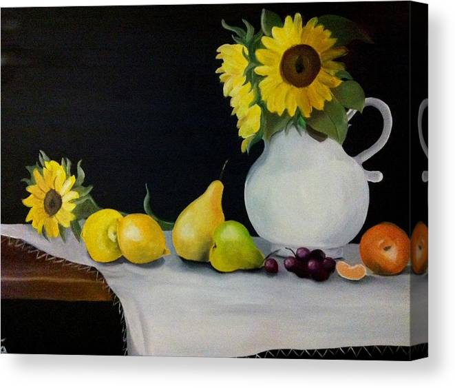 Still-life Canvas Print featuring the painting A Still-life by Rita Fernandes