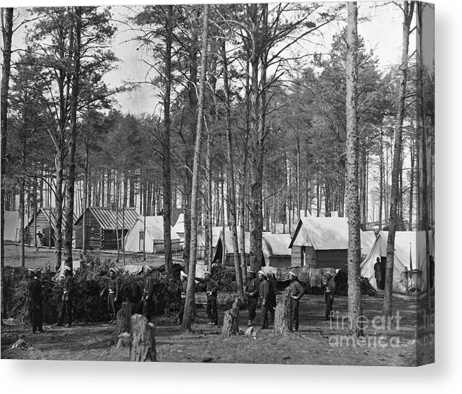 1864 Canvas Print featuring the photograph Civil War: Union Camp, 1864 by Granger