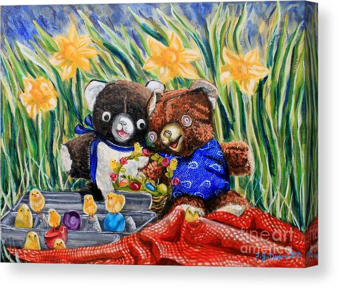 Teddy Bears Canvas Print featuring the painting Cracky Bear And Little Boy Bear So Happy Together by Thomas J Nixon