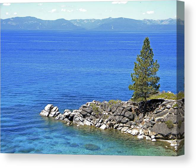 Lake Tahoe Canvas Print featuring the photograph Lake Tahoe Rocky Point by Frank Wilson