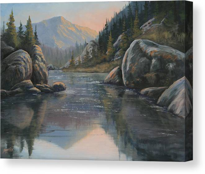 Landscape Canvas Print featuring the painting 071215-1612 Fading Light by Kenneth Shanika
