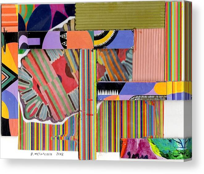 Abstract Art Canvas Print featuring the drawing Abstract Collage by Paul Meinerth