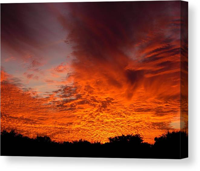 Sky Canvas Print featuring the photograph Fire In The Sky by Amanda Vouglas