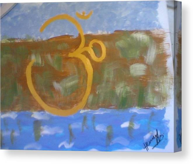 Omkar Canvas Print featuring the painting Hds-universal Om by Hema V Gopaluni