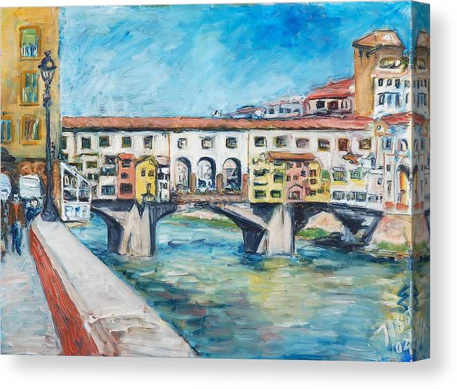 Bridge Italy Old Water Sky People Houses Canvas Print featuring the painting Pontevecchio by Joan De Bot