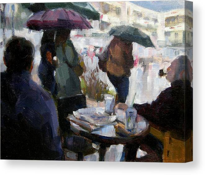 Urban Canvas Print featuring the painting A Rainy Day At Starbucks by Merle Keller