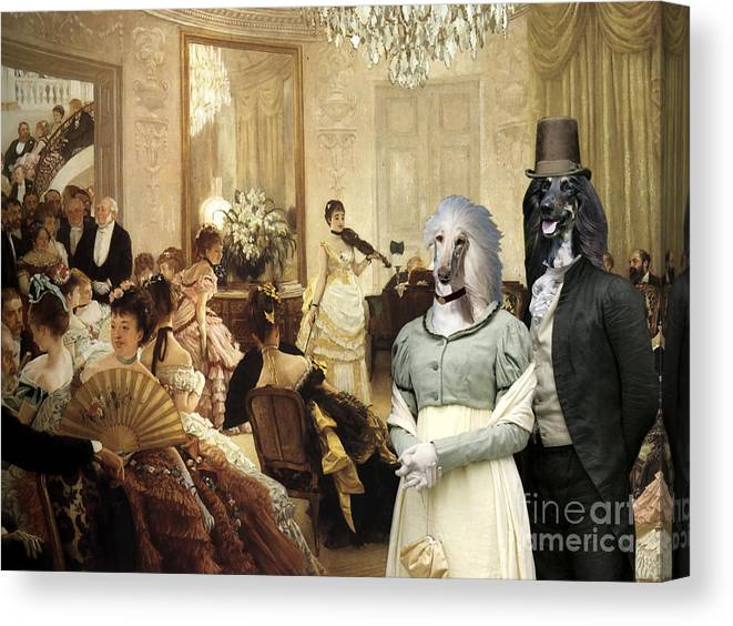 Afghan Hound Canvas Canvas Print featuring the painting Afghan Hound-the Concert Canvas Fine Art Print by Sandra Sij