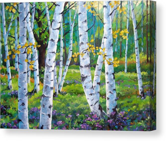 Birche; Birches; Tree; Trees; Nature; Landscape; Landscapes Scenic; Richard T. Pranke; Canadian Artist Painter Canvas Print featuring the painting Alpine Flowers And Birches by Richard T Pranke