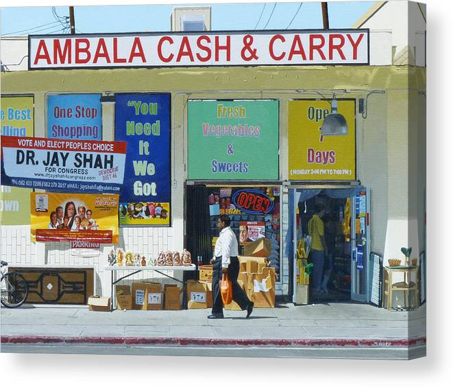 Ambala Canvas Print featuring the painting Ambala Cash And Carry by Michael Ward