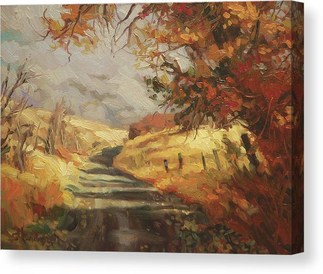 Country Canvas Print featuring the painting Autumn Road by Steve Henderson