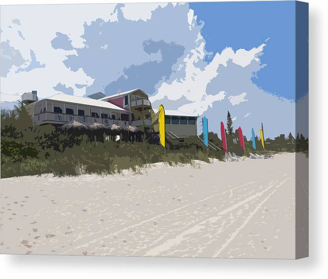 Casino Canvas Print featuring the painting Beach Casino by Allan Hughes