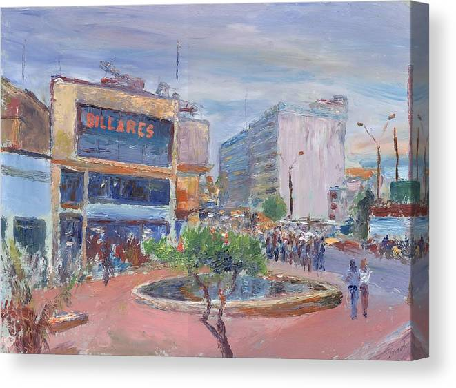 Oil Canvas Print featuring the painting Billares by Horacio Prada