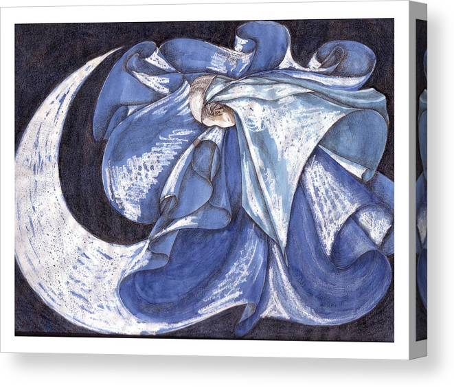 Dance Canvas Print featuring the mixed media Blue Derwish by Amrei Al-Tobaishi-Jarosch