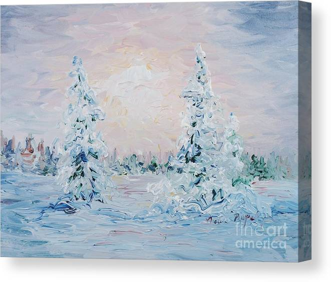 Landscape Canvas Print featuring the painting Blue Winter by Nadine Rippelmeyer