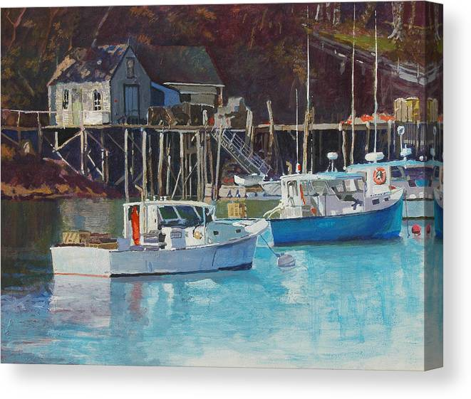 Maine Canvas Print featuring the painting Boat Shack by Robert Bissett