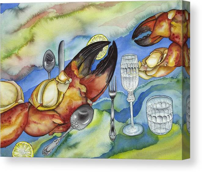 Sea Canvas Print featuring the painting Bon Appetit Favorite Food 2 Right Image Diptych by Liduine Bekman