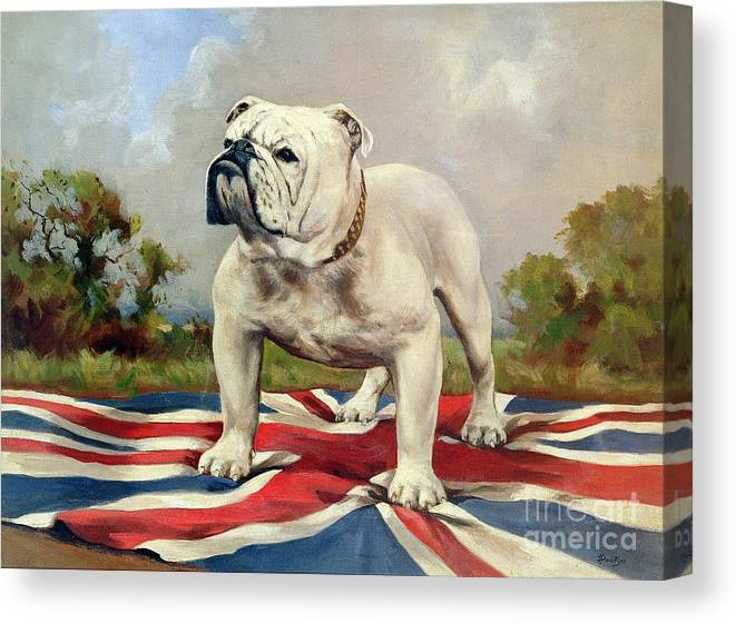 Grb; Union Jack; Dog Canvas Print featuring the painting British Bulldog by English School