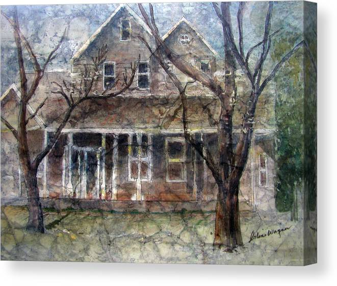 House Canvas Print featuring the mixed media Brown Batik House by Arline Wagner
